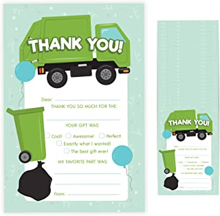 Garbage Truck Fill In Thank You Cards (25 Count) With Envelopes Bulk Birthday Party Kids Children Boy Girl (25ct. Fill Thank You)