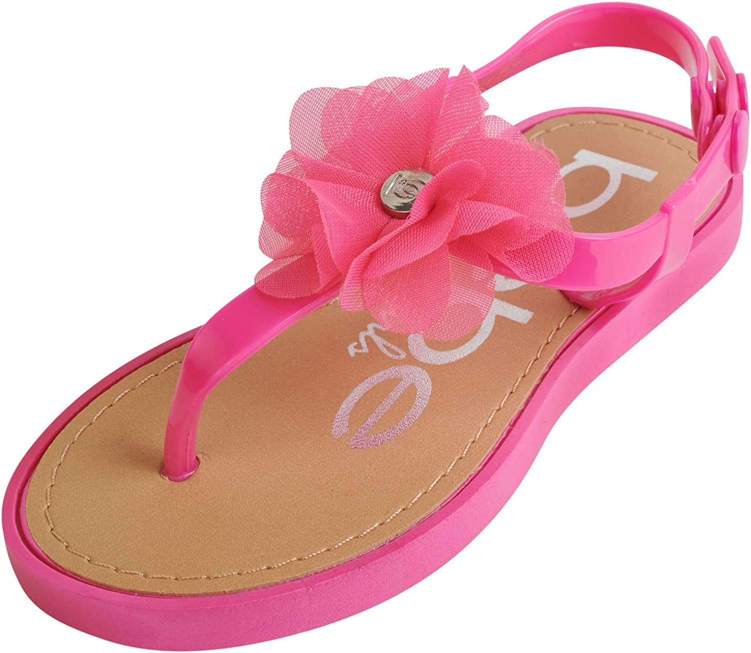 Bebe Brand Cheap Sale Venue Girls' Thong Sandals with Toddler Flowers Little K Chiffon Trust
