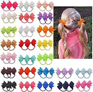 50PCS/25Pairs 2Inch Mini Hair Bows Baby Girls Grosgrain Ribbon Bow Hair Ties Elastic Hair Bands Pigtail Bows Ponytail Holders Hair Accessories for Infants Toddlers Kids Children
