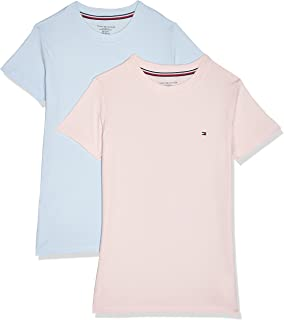 Tommy Hilfiger Girls 2P Cn Tee S/S T-Shirt (Pack Of 2), Color:Gold, Size:10-12_Years