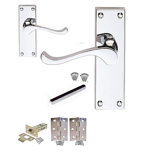 1 Set Satin Nickel Victorian Scroll Internal Lever Latch Door Handles D15