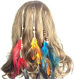 Set of 6 Handmade Boho Hippie Hair Extensions with Feather Clip Comb Hairpin Headdress DIY Accessories for Women Lady