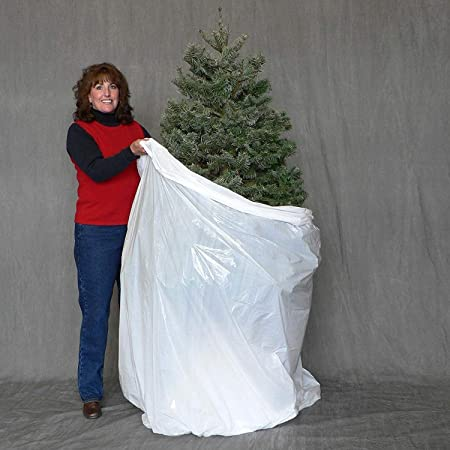 Pursell Manufacturing Christmas Tree Disposal and Storage Bag - Fits Trees to 9-Feet 5-Inches (Standard Version) (White)