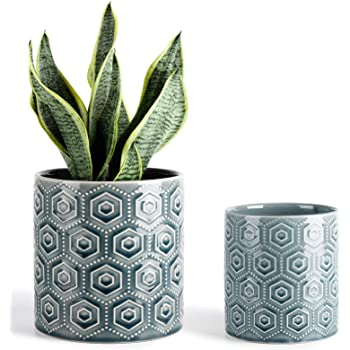 Hexagon Pattern Ceramic Pots - 5 and 6 Inch Blue Planters with Drainage Holes for Indoor or Outdoor Decor, Set of 2