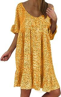 Women's Ladies Sexy Loose Print Hlaf Sleeve Ruffles Mini Dress Summer Dress