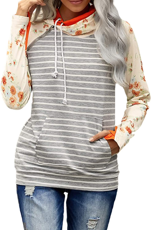 Paitluc Womens Pullover Sweatshirts Womens Hoodies Crewneck Double Hoodied Long Sleeve Sweatshirts