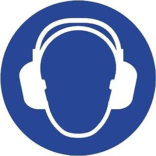 Señal de seguridad laboral Anro | Se requiere protección auditiva | Señal de seguridad hecha de PVC | Para talleres, fábricas, aeropuertos | 10 x 10 cm