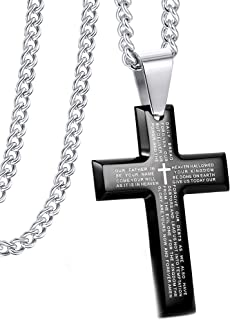 Jewelry Men's Stainless Steel Simple Black Cross Pendant...