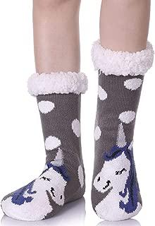 Women's Cute Knit Cartoon Animal Face Soft Warm Fuzzy Fleece Lining Winter Home Slipper Socks