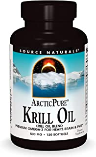 Source Naturals ArcticPure Krill Oil 500 mcg Premium Omega-3 for Heart, Brain, and PMS - 120 Softgels