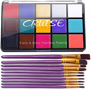 UCANBE CRUISE Face Body Paint Set, 15 Colors Painting Palette Makeup Kit with 10 Pcs Professional Artist Brushes for Hallo...