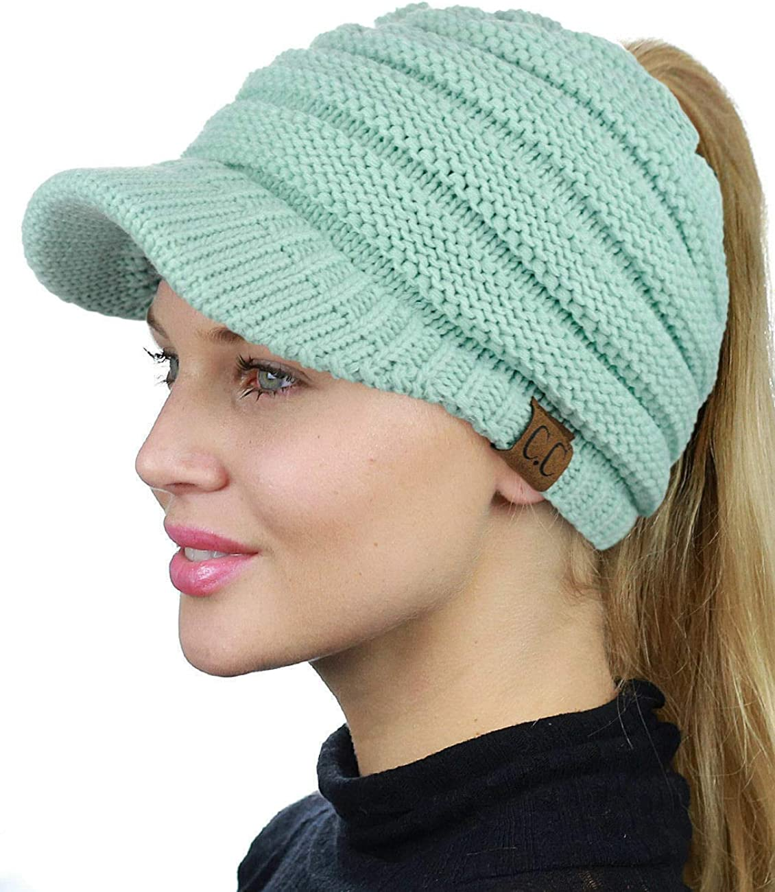 JP Soft Stretch Knit High Bun Ponytail Skully Warm Beanie Toboggan Brim Hat Cap (Mint Blue)