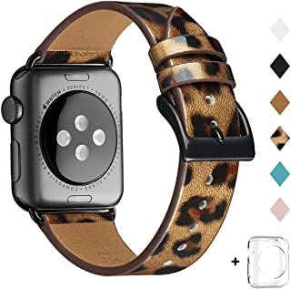 Bestig Band Compatible for Apple Watch 38mm 40mm 42mm 44mm, Genuine Leather Replacement Strap for iWatch Series 5/4/3/2/1, Sports & Edition (Leopard Band+Black Adapter, 38mm 40mm)
