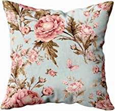 Abstract Pattern Pillow Cover,Sofa Zip Pillow Covers,Musesh 18x18 Seamless watercolor pattern with roses and butterflies F Beautiful pattern for decoration and design Trendy print Exquisite pattern fo