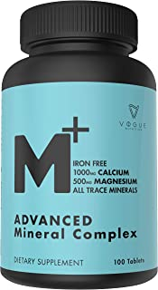 Chelated Multi Mineral Supplement with Zinc, Calcium & Magnesium for Immune Support - Trace Minerals Supplements for Women & Men - All Trace Complete Mineral Complex (100 Tablets)