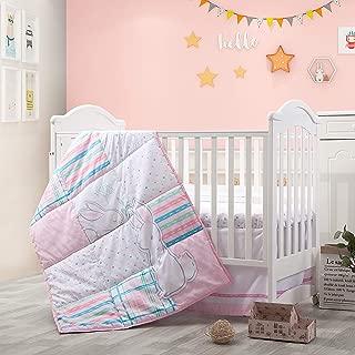 Little Grape Land 3-Piece Nursery Crib Bedding Sets, Soft Polyester Microfiber for Standard Size Crib Bedding Sets for Girls Pink/Purple/Grey/White, (Pink Garden)