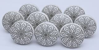 Grey Ceramic Flat White Drawer Pulls and Knobs Handmade Designer Set of 12 Silver Finish 101
