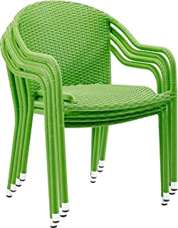 Crosley Furniture Palm Harbor Outdoor Wicker Stackable Chairs - Green (Set of 4)