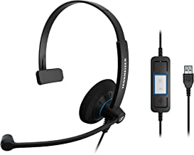 Sennheiser SC 30 USB CTRL (505548) - Single-Sided Business Headset | For Unified Communications | with HD Sound, Noise-Cancelling Microphone, & USB Connector (Black)