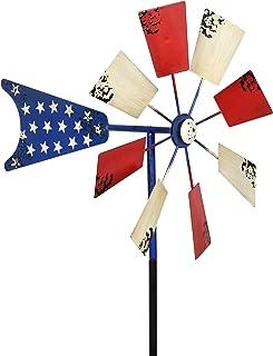 Exhart Yard Pinwheel Decorations – American Flag Windmill Spinner – USA Garden Windmill w/ Weather Resistant Americana Metal Blades, Patriotic Decorations, Garden Décor (12