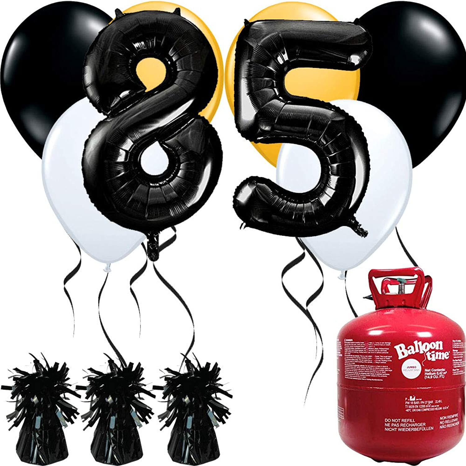 85th Birthday Black Balloons And Helium Gas Package