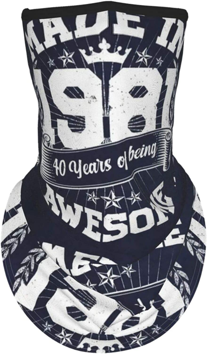Ear Hangers Face Balaclava Made In 1981 Birthday 40 Years Of Being Awesome Navy Protective Cover Wristband Bandanas Neck Gaiter Dust-Proof,Anti-Pungent Gas,Washable