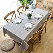 wrgfhb Plaid Imitation Cotton and Linen Embroidered Fringed lace Geometric Rectangular Tablecloth Gray + Decorative lace 140x100cm Gray + Decorative lace