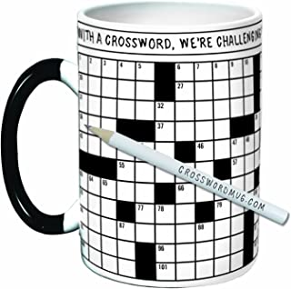 The Unemployed Philosophers Guild Crossword Puzzle Coffee Mug - Exercise Your Mind While You Warm Your Belly - Comes in a Fun Gift Box, White, 12 ounce