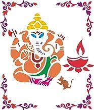 Incredible Gifts India Ganesha with Corner Rangoli Stencil Combo (Wood, 30x30cm)