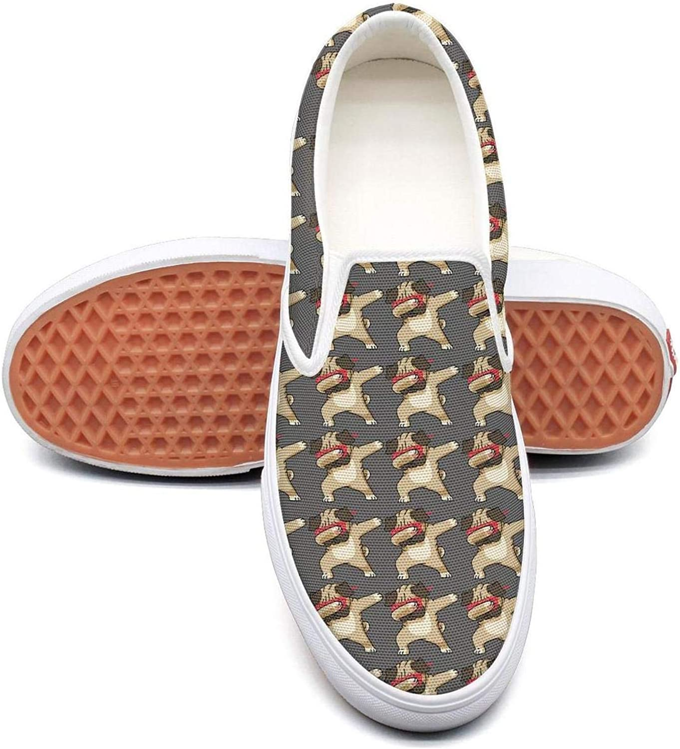 Refyds-es Dabbing Pug Funny Dab Hip Hop Dabbing Kitten Womens Fashion Slip on Low Top Lightweight Canvas Athletic Sneakers