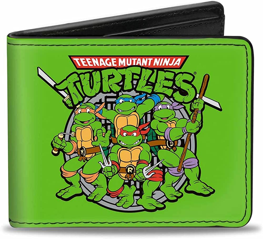 Nickelodeon Buckle-Down Cheap mail order sales Omaha Mall Bifold Wallet Turtles Ninja Multicolor