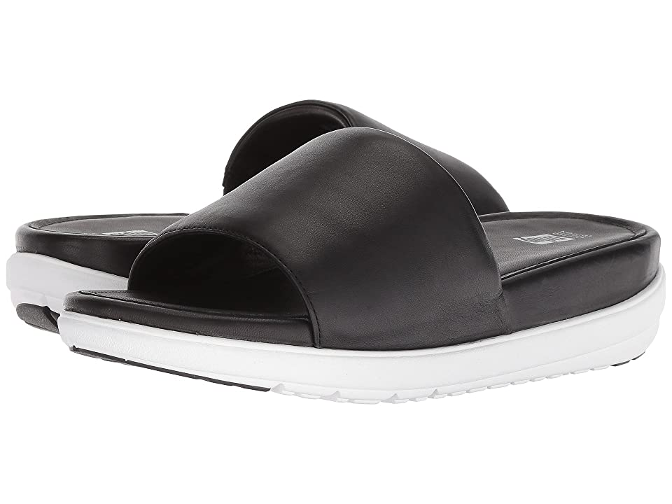 FitFlop Loosh Luxetm Leather Slide Sandals (Black Leather) Women