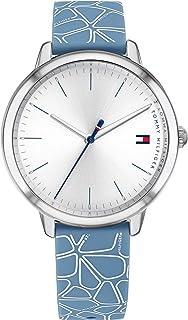 ساعة يد من تومي هيلفجر للنساء بمينا ابيض وحزام سيليكون ازرق- 1782249