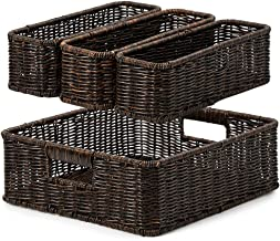 EZOWare 4 Piece Resin Woven Storage Basket Set, Decorative Wicker Tray Shelf Drawer Organiser Bin Containers for Kitchen, ...