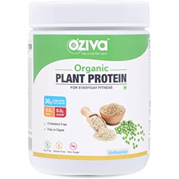OZiva Organic Plant Protein,(30g Protein, Organic Pea Protein Isolate + Organic Brown Rice Protein, Soy Free)500g