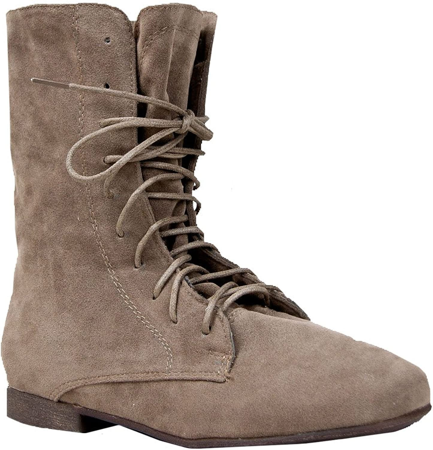 Breckelle's Sandy-62 Basic Casual Cuffed Lace Up Flat Ankle Bootie Boot