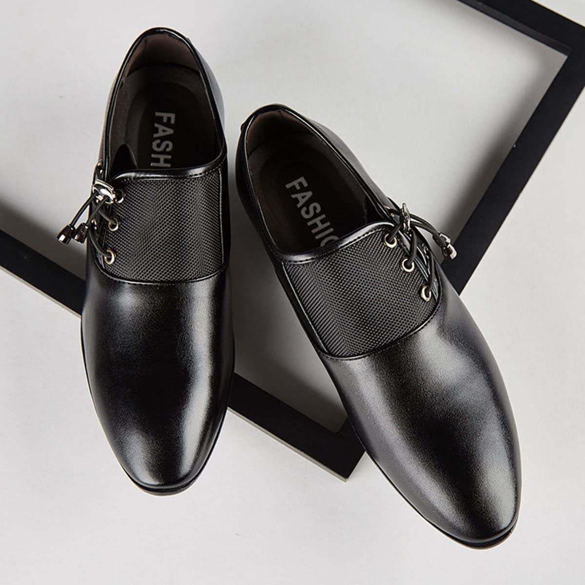 FOXSENSE Pointed Patent Leather Fashion lace up Shoes for Men