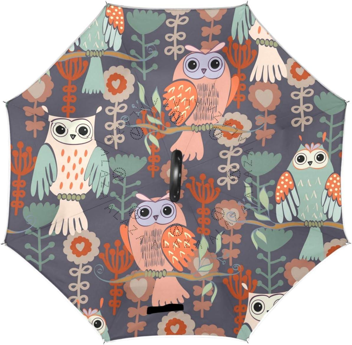 Wamika Cute Ultra-Cheap Deals Owl Sunflowers Reverse Inverte Double Layer Umbrella Cheap super special price