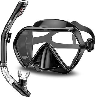 QTECLOR Snorkel Mask Set Snorkeling Gear–Dry Snorkel Set and Mask Kids Adults Anti Fog 180 Degree Seaview with Mesh Bag, S...