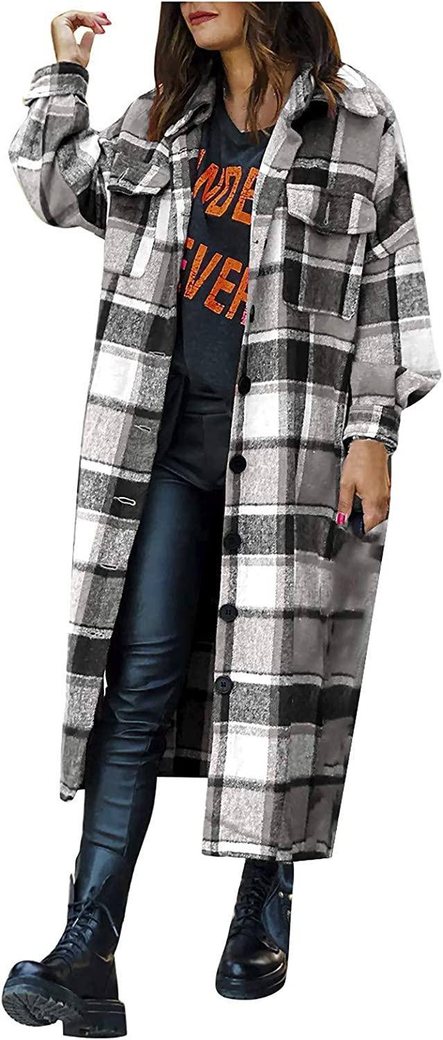 Kcocoo Womens Casual Plaid Blend Button Down Long Sleeve Shirt Jacket Shackets Lapel Lightweight Outwear Trench Coat Pea Coat
