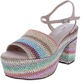 4acc467d1979 SCHUTZ Womens Ziquiele Raffia Multi-Color Platform Sandals Tan 10 Medium (B