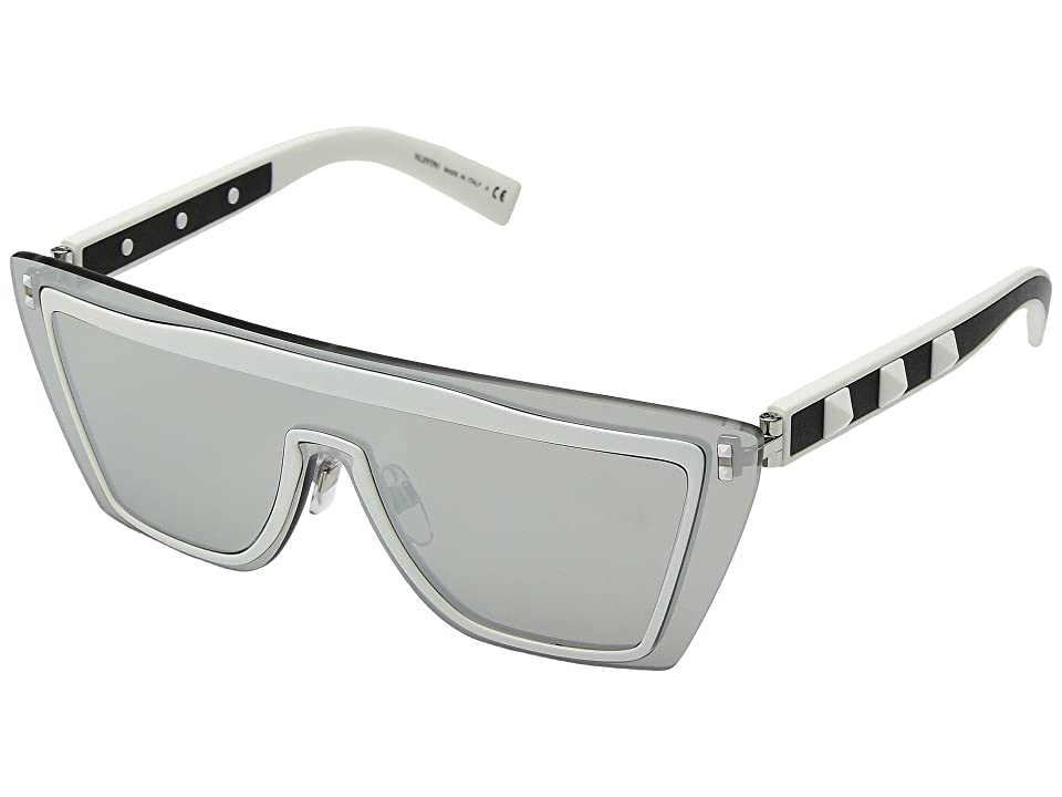 Valentino 0VA2026 (Matte White/Leather Black/Mirror Silver) Fashion Sunglasses