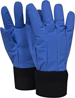"""National Safety Apparel G99CRBERLGWR Nylon Taslan and PTFE Wrist Standard Water Resistant Safety Glove, Cryogenic, 12"""" Length, Large, Blue"""