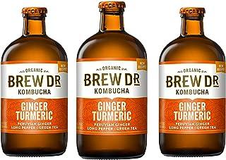 Brew Dr Ginger Turmeric Raw Organic Kombucha, 14 oz bottles, (3 Pack)