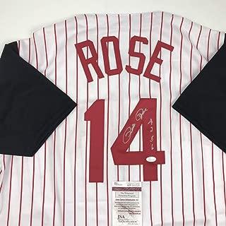 Autographed/Signed Pete Rose 4256 Cincinnati Pinstripe Baseball Jersey JSA COA