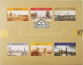Ahmad Tea Classical Tea Selection, 6 Sorten Schwarzer Tee 60 Teebeutel mit Band/Tagged, 120 g