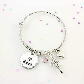 Personalized Little Girls Silver Ballerina Bracelet - Ballet Gifts For Little Girls - Ballerina Bangle Bracelet - Silver Expandable Charm Bangle - Birthday Gift - Dancer Gift - Granddaughter Gift