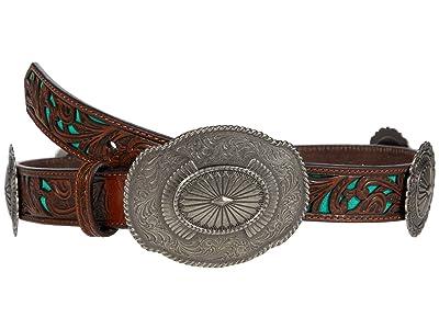 Ariat 1 1/4 Embossed Concho Belt (Brown) Women