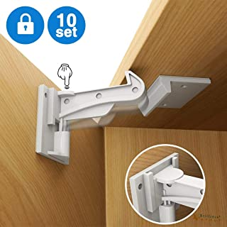 Cabinet Locks Child Safety, Slick Invisible Spring No Drill Baby Proof Safety Latches for Kitchen & Bedroom Cabinets & Cupboards Drawers with & 3M Adhesive & 20 Screws Durable Fixed - 10 Pack