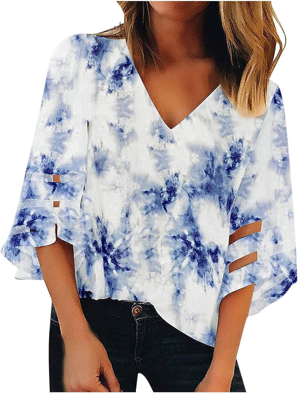 Women's V-Neck Summer Tunic Tops 3/4 Bell Sleeve Blouses Loose Floral Boho Shirts Casual Mesh Bat Sleeve Tees